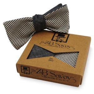 ZB Savoy Black Chambray Pinstripe Striped Bow